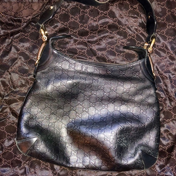 76fbd234f0303 Authentic GUCCI Genuine Leather Vintage Hobo Bag